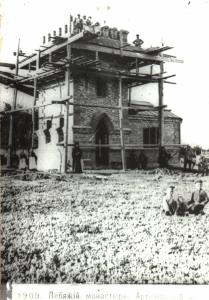 Строительство Монастырской водонапорной башни (фотография 1909 года)